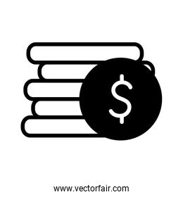 Isolated money coins silhouette style