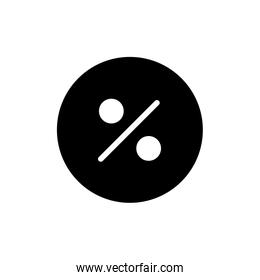 Isolated percentage circle silhouette style icon vector design