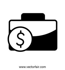 Isolated money coin and suitcase silhouette style icon vector design