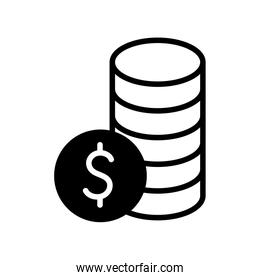 Isolated money coins silhouette style icon vector design