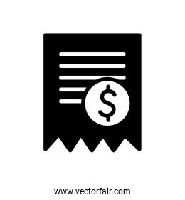 Isolated money coin and document silhouette style icon vector design