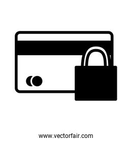 Isolated money credit card and padlock silhouette style icon vector design