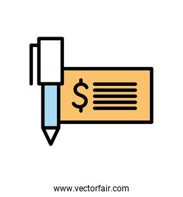 Isolated dollar check and pen line and fill style icon vector design