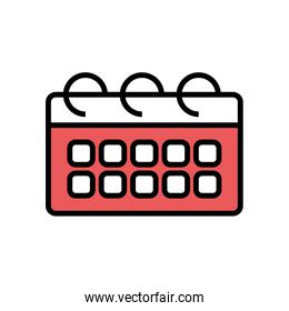 Isolated calendar line and fill style icon vector design