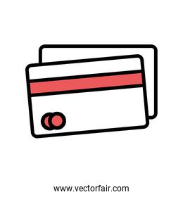 Isolated credit card line and fill style icon vector design