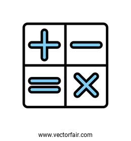 Isolated calculator buttons line and fill style icon vector design
