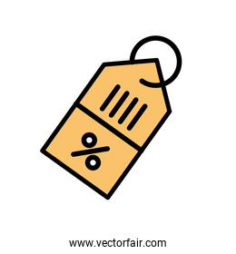 Isolated percentage label line and fill style icon vector design