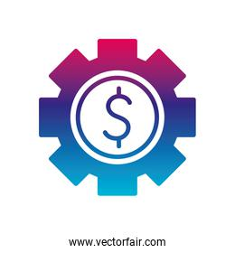 Isolated dollar gear gradient line style icon vector design