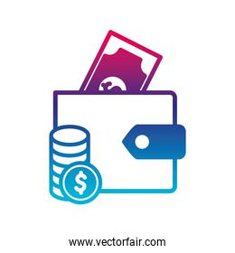 Isolated bill coins and wallet gradient line style icon vector design