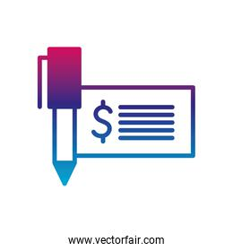 Isolated dollar check and pen gradient line style icon vector design
