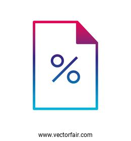 Isolated percentage document gradient line style icon vector design