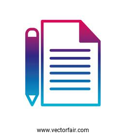 Isolated data document and pencil gradient line style icon vector design