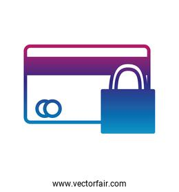 Isolated credit card and padlock gradient line style icon vector design