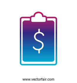 Isolated dollar document gradient line style icon vector design