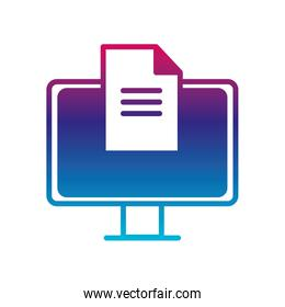 Isolated digital computer and document gradient line style icon vector design