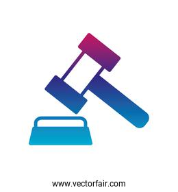 Isolated law hammer gradient line style icon vector design