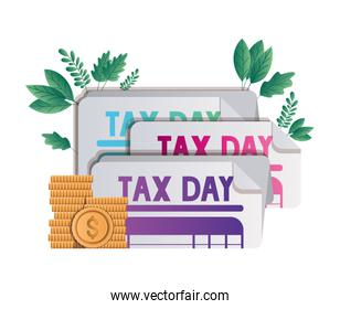 Isolated tax documents and coins vector design