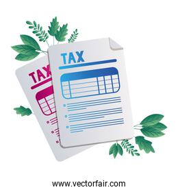 Isolated tax documents and leaves vector design