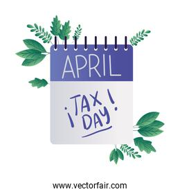 tax day calendar and leaves vector design