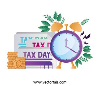 Isolated tax documents coins and clock vector design
