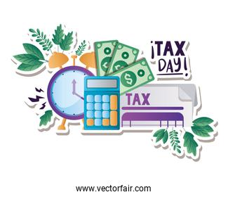 Isolated tax document calculator bills and clock vector design