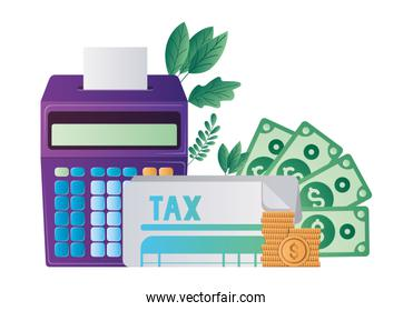 Isolated tax document coins bills and calculator vector design