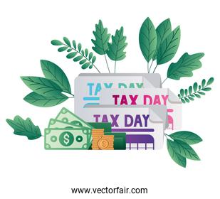 Isolated tax documents bills and coins vector design