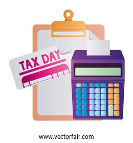 Isolated tax document and calculator vector design