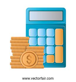 Isolated calculator and coins vector design