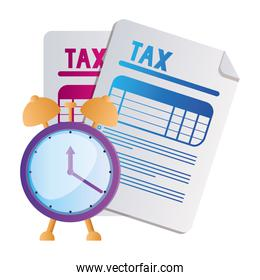 Isolated tax documents and clock vector design