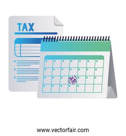 tax day calendar and document vector design