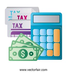Isolated tax documents bills and calculator vector design