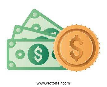 Isolated money bills and coin vector design