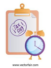 Isolated tax document and clock vector design