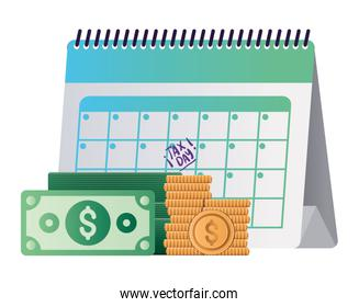 Isolated tax day calendar bills and coins vector design