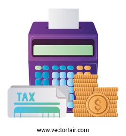Isolated tax document coins and calculator vector design