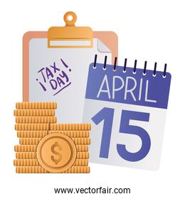 tax day calendar document and coins vector illustration
