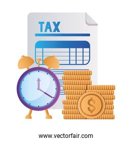 Isolated tax document coins and clock vector design