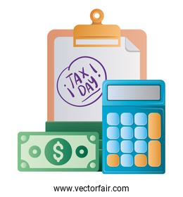 Isolated tax day document bills and calculator vector design