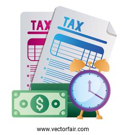 Isolated tax documents bills and clock vector design