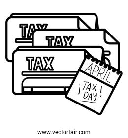 tax day calendar and documents vector design