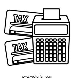 Isolated tax documents and calculator vector design