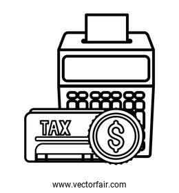 Isolated tax document coin and calculator vector design