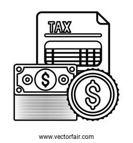 Isolated tax document bills and coins vector illustration