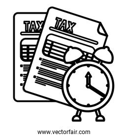 Isolated tax documents and clock vector illustration