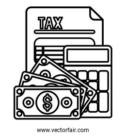 Isolated tax document bills and calculator vector design