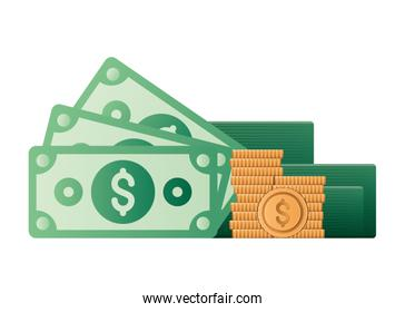 Isolated money bills and coins vector design