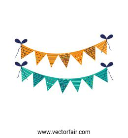 Party and celebration banner pennant flat style icon vector design
