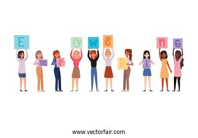 Women with banners vector design