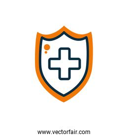 Cross inside shield half line half color style icon vector design